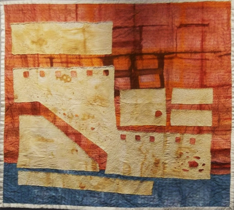 embroidery on appliqued, shibori, rust-printed, and discharged fabrics